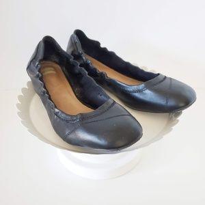 Toms Black Leather Ballet Flats 8.5